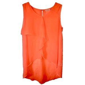 Neon Orange High-Low Blouse